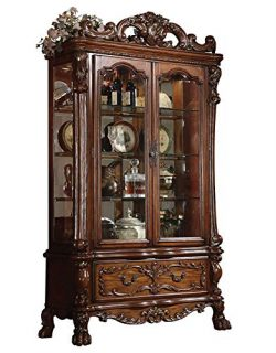 ACME Dresden Curio, Cherry Oak Finish