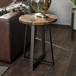 WE Furniture AZF18MWSTDW Rustic Farmhouse Round Metal Side End Accent Table Living Room, 18 Inch ...
