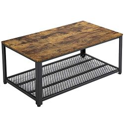 Yaheetech Industrial Coffee Table with Storage Shelf for Living Room, Accent Table with Metal Fr ...