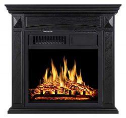 JAMFLY Electric Fireplace Mantel Package Wood Surround Firebox Freestanding Corner Fireplace Inf ...