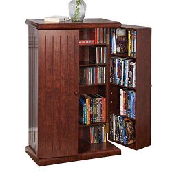 Collections Etc Multi-Functional Double Door Media Cabinet – Storage for DVDs, CDs, Other  ...