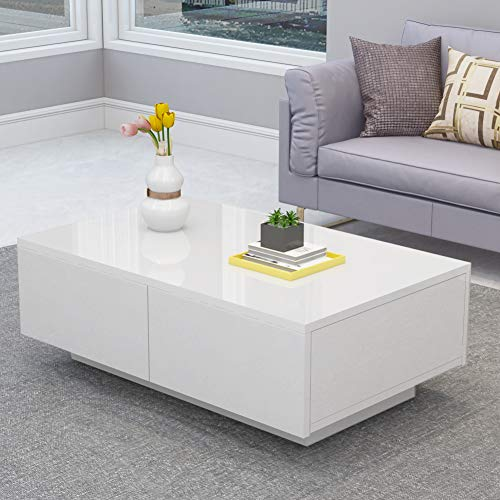 High Gloss Coffee Table, Modern White Rectangle Cocktail Table Sofa Table with 4 Drawers for Off ...