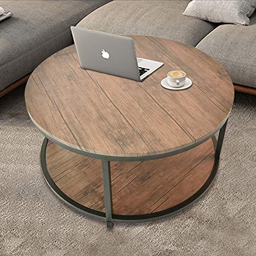 36″Round Coffee Table, Rustic Vintage Industrial Wood Top & Sturdy Metal Legs for Livi ...