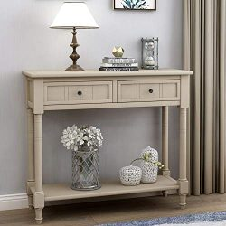 P PURLOVE Console Table Retro Style Wooden Sofa Table with 2 Drawers and Bottom Shelf for Home L ...
