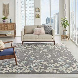 Nourison TRA04 Tranquil Bohemian Floral Grey/Beige Area Rug 8′ X 10′