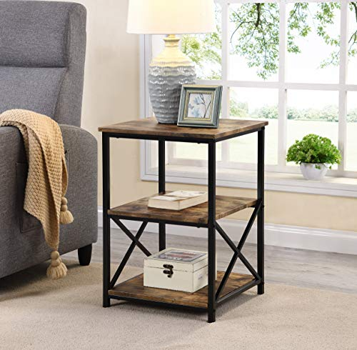 Rustic Nutmeg Brown Finish Metal X-Design Chair Side End Table with 3-Tier Shelf