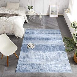 vangao Area Rug 3'x5'3 Vintage Blue Carpet Indoor Outdoor Mat Modern Rug Floorcover  ...