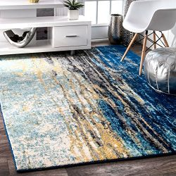 nuLOOM RZBD04A Traditional Waterfall Vintage Abstract Area Rug, 5′ x 7′ 5″, Blue