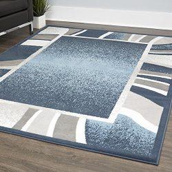 Home Dynamix Lyndhurst Rotana Modern Area Rug, Contemporary Blue/Gray/Ivory 5'2″x7&# ...