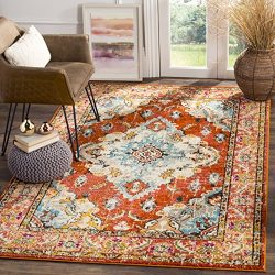 Safavieh Monaco Collection MNC243H Vintage Oriental Orange and Light Blue Distressed Area Rug (5 ...
