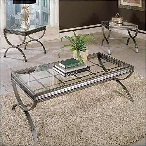 BOWERY HILL 3 Piece Coffee and End Table Set in Silver