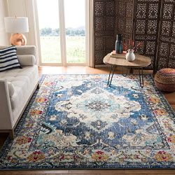 Safavieh Monaco Collection MNC243N Vintage Bohemian Navy and Light Blue Distressed Area Rug (8&# ...