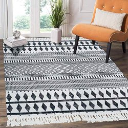 HEBE Cotton Area Rug 4′ x 6′ Machine Washable Large Hand Woven Black and White Cotto ...