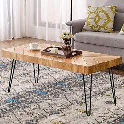 P PURLOVE Modern Wood Coffee Table, Easy Assembly Coffee Table for Living Room w/Chevron Pattern ...