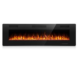 Antarctic Star 60 Inch Electric Fireplace in-Wall Recessed and Wall Mounted, 750/1500 Fireplace  ...
