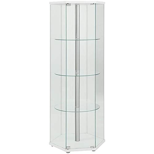 BOWERY HILL Glass Hexagonal Curio Cabinet in White and Chrome