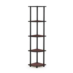 Furinno 99811DC/BK Turn-N-Tube 5 Tier Corner Shelf, Dark Cherry/Black