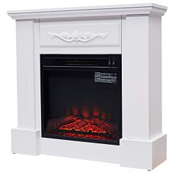 HOMCOM Freestanding Electric Fireplace Heater with Mantel, Wood, 1400W, 30″ H, Beige