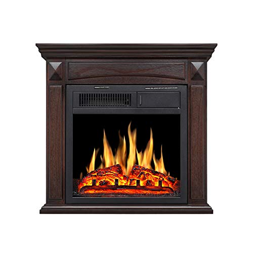 R.W Flame Electric Fireplace Mantel Wooden Surround Firebox Free Standing, Adjustable Led Flame, ...