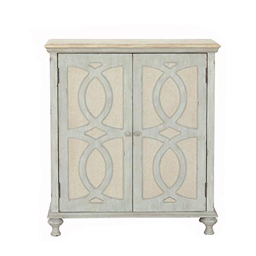 PRI Home Fare Wood and Fabric Two Door Accent Chest in Weathered Grey