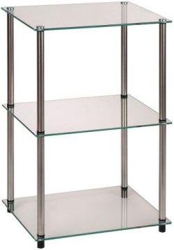 Convenience Concepts Designs2Go Go-Accsense 3-Tier Glass Square End/Lamp Table, Clear Glass