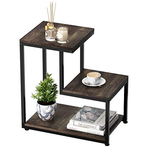 LANGRIA 3-Tier Sofa End Table, Nightstand with Storage Shelf Industrial Ladder-Shaped Chair Side ...