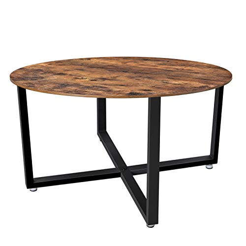 VASAGLE ALINRU Round Coffee Table, Industrial Style Cocktail Table, Durable Metal Frame, Easy to ...