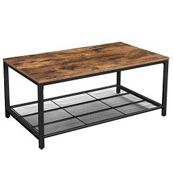 VASAGLE INDESTIC Coffee Table, Living Room Table with Dense Mesh Shelf, Large Storage Space, Coc ...
