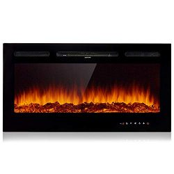 AMERLIFE Electric Heater 21″- 3-Sided Freestanding Electric Fireplace Heater with 3D Reali ...