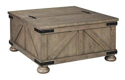 Aldwin Farmhouse Grey Storage Coffee Table with Pine Wood