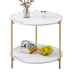 PAMBOO Coffee Table Small Table Marble Pattern Wooden Double Sofa Side Table Square Table Suitab ...