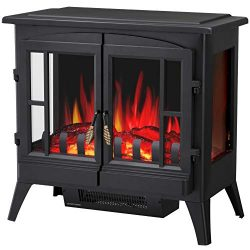 R.W.FLAME Infrared Electric Fireplace Stove, 23″ Freestanding 2 Door Fireplace Heater, Rea ...