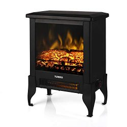 TURBRO Suburbs TS17 Compact Electric Fireplace Heater, Freestanding Stove Heater with Realistic  ...