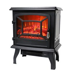 ROVSUN 20″ H Electric Fireplace Stove Space Heater 1400W Portable Freestanding with Thermo ...