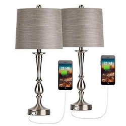Oneach USB Table Lamp Set of 2 Modern Bedside Desk Lamp with USB Port for Living Room Bedroom Co ...