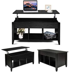 MTFY Lift Top Coffee Table, Modern Wood Home Living Room Furniture Coffee Table Desk with Hidden ...