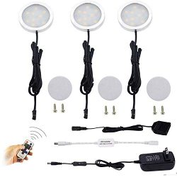 Dimmable LED Under Cabinet Puck Lights AIBOO 3 Lamps Kit with RF Remote Control for Home Kitchen ...