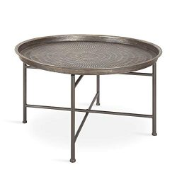 Kate and Laurel Mahdavi Boho-Chic Hammered Metal Tray Coffee Table, Pewter