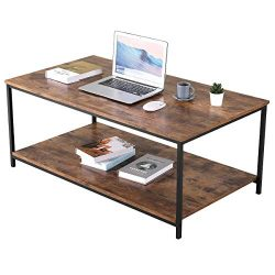 Industrial Coffee Table, BONZY HOME Vintage Coffee Table with Storage Shelf, Wood Look Accent Fu ...