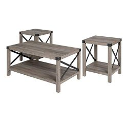 Walker Edison Furniture Company 3-Piece Rustic Wood and Metal Coffee Table Set – Gray Wash