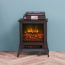 LOKATSE HOME 14″ Electric Fireplace Space Stove Heater Freestanding with Realistic Flame,  ...