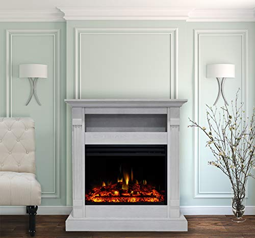 CAMBRIDGE Sienna 34 Heater with White Mantel, Enhanced Log Display, Multi-Color Flames, and Remo ...