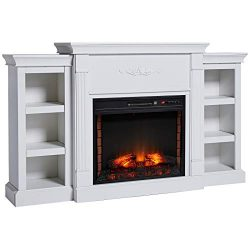 HOMCOM Electric Fireplace Freestanding 1400W Artificial Flame Effect with Detachable Side Cabine ...