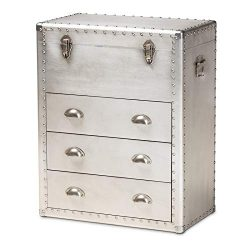 Baxton Studio Serge Silver Metal 3-Drawer Accent Storage Chest