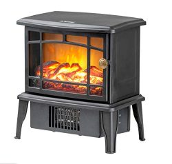 Climate Choice Mini Fireplace Heater, 10″ 500W Electric Antique Stove Fireplace Heater
