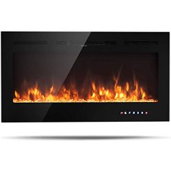 Tangkula 40″ Electric Fireplace, in-Wall Recessed and Wall Mounted 750W/1500W, Fireplace H ...
