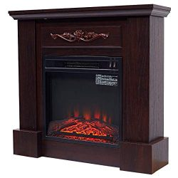 HOMCOM Freestanding Electric Fireplace Heater with Mantel, Wood, 1400W, 30″ H, Dark Brown