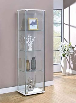 Coaster Curio Cabinet in White and Chrome