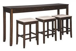 Signature Design By Ashley – Rokane Rectangular Dining Room Counter Table Set- Set of 4 &# ...