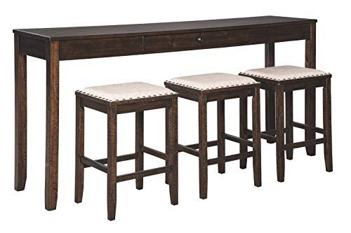 Signature Design By Ashley – Rokane Rectangular Dining Room Counter Table Set- Set of 4 &# ...